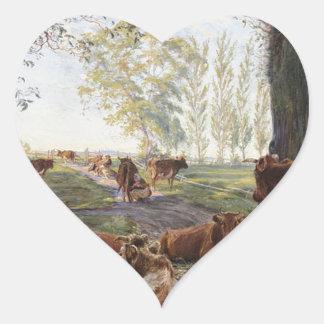 Malkeplads ved Dyrehavegård by Theodor Philipsen Heart Sticker