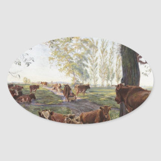 Malkeplads ved Dyrehavegård by Theodor Philipsen Oval Sticker