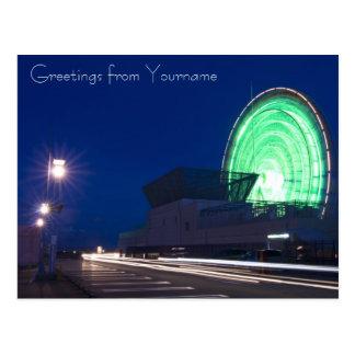 Mall Parking Lot with Ferris Wheel Car Light Trail Postcard