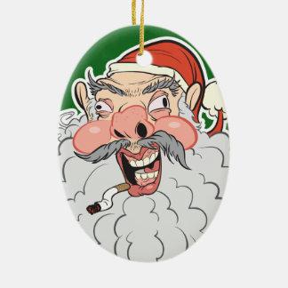 Mall Santa Ceramic Ornament