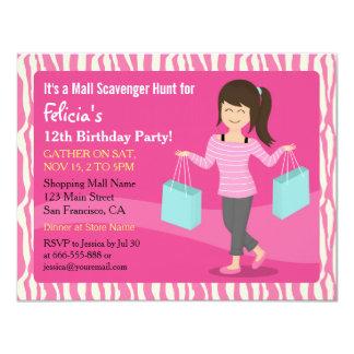 Mall Scavenger Hunt Birthday Party Zebra Print 4.25x5.5 Paper Invitation Card