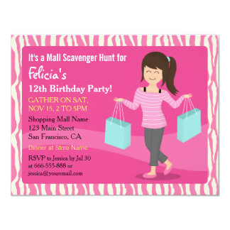 Mall Scavenger Hunt Birthday Party Zebra Print 4.25x5.5 Paper Invitation Card