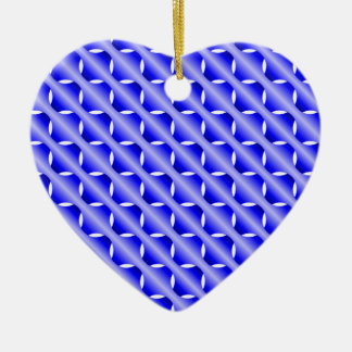 Malla azul adorno navideño de cerámica en forma de corazón