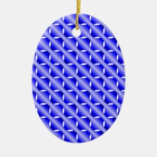 Malla azul adorno navideño ovalado de cerámica