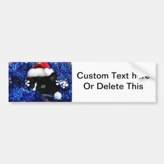 Malla blanco y negro del gorra del navidad del pegatina para auto
