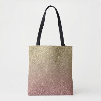 Malla del brillo del oro color de rosa y del oro bolsa de tela