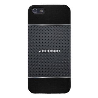Malla elegante con cuero negro en la parte superio iPhone 5 carcasa