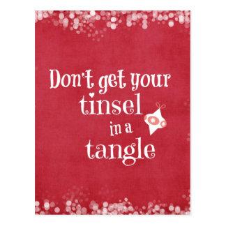 Malla en una cita del navidad del enredo tarjetas postales