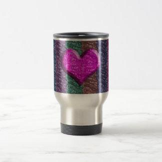 Malla metálica colorida del corazón taza de viaje de acero inoxidable