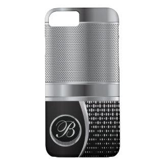 Malla metálica negra y de plata con monograma funda iPhone 7