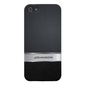 Malla negra del cuero y de la plata con la etiquet iPhone 5 fundas