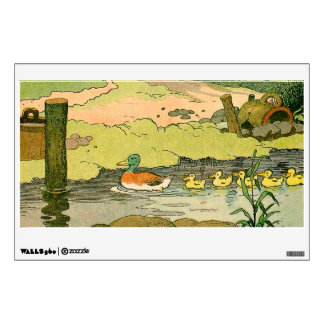 Mallard and Ducklings Swimming on the River Wall Graphic