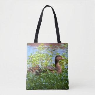 Mallard And Ducklings Tote Bag