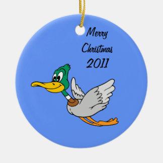 Mallard Duck Cartoon Flying Double-Sided Ceramic Round Christmas Ornament