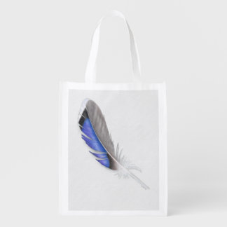 Mallard Duck Feather Watercolor Grocery Bag