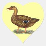 Mallard Duck Hen Heart Stickers