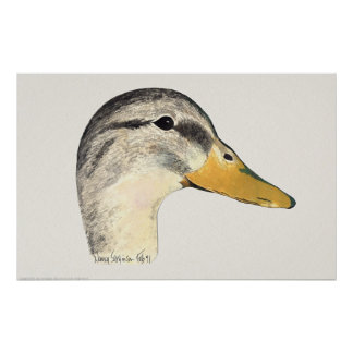 Mallard Duck Hen Watercolor Poster