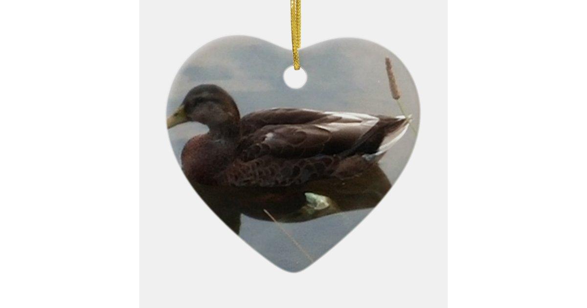Mallard duck in the water ceramic ornament | Zazzle