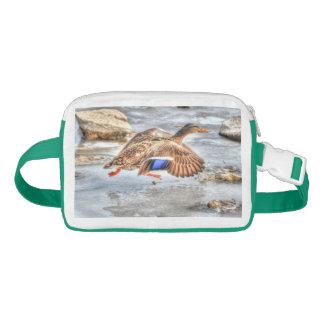 Mallard Duck Launching from Frozen River Waist Bag