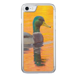 Mallard duck on orange lake, Canada Carved iPhone 7 Case