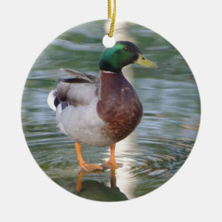Mallard Duck Double-Sided Ceramic Round Christmas Ornament