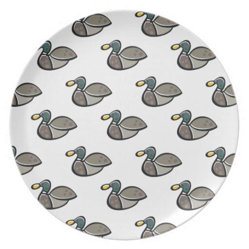 Mallard Duck Pattern Party Plate