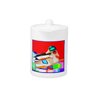 Mallard Duck Pop Art Portrait Painting Teapot