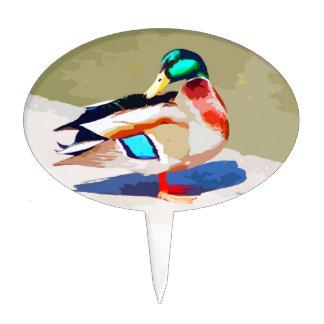 Mallard Duck Portrait Painting Cake Topper