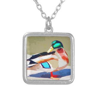 Mallard Duck Portrait Painting Square Pendant Necklace