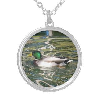Mallard Duck Round Pendant Necklace