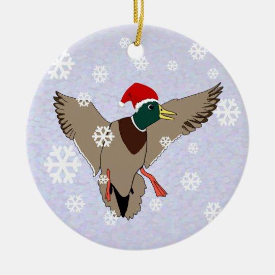 Mallard Duck Santa Christmas Ceramic Ornament