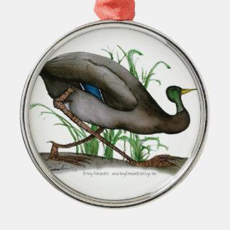 mallard duck - wild bird, tony fernandes Silver-Colored round decoration