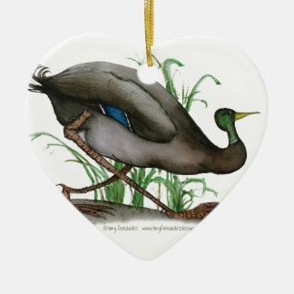 mallard duck - wild bird, tony fernandes ceramic heart decoration