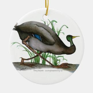 mallard duck - wild bird, tony fernandes round ceramic decoration