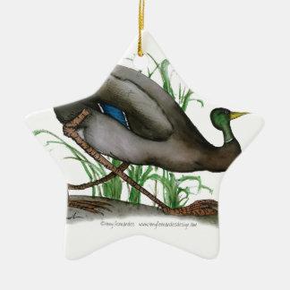 mallard duck - wild bird, tony fernandes ceramic star decoration