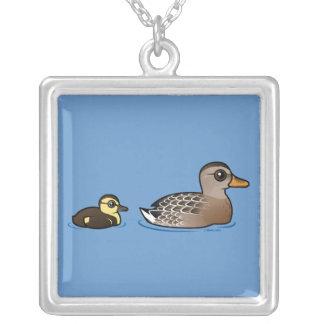Mallard & duckling square pendant necklace