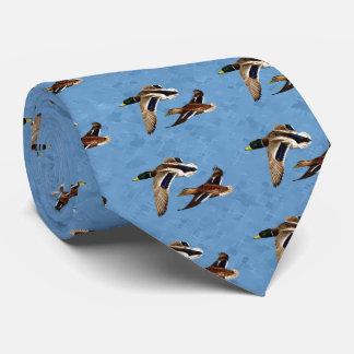 Mallard Ducks Flying Blue Tie