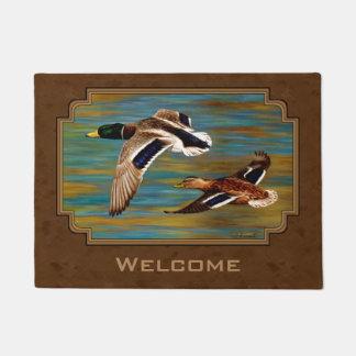 Mallard Ducks Flying Brown Doormat