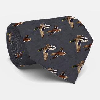 Mallard Ducks Flying Charcoal Gray Tie