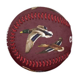 Mallard Ducks Flying Maroon Baseballs