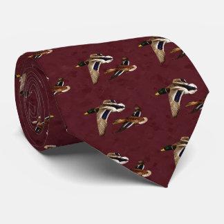 Mallard Ducks Flying Maroon Tie