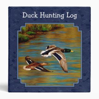 Mallard Ducks Flying Navy Blue Binder