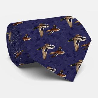 Mallard Ducks Flying Navy Blue Tie