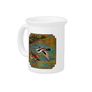 Mallard Ducks Flying Over Pond Beverage Pitcher