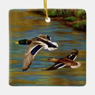 Mallard Ducks Flying Over Pond Ceramic Ornament