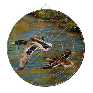 Mallard Ducks Flying Over Pond Dart Board