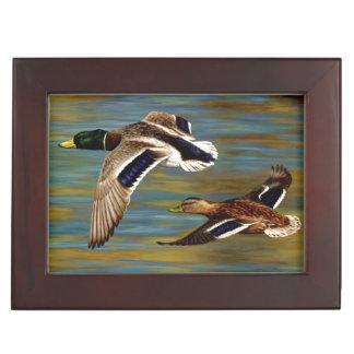 Mallard Ducks Flying Over Pond Keepsake Box