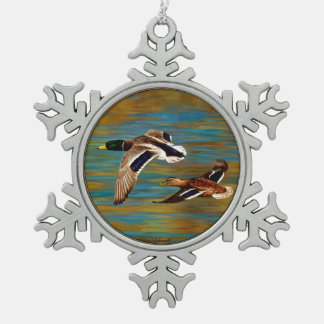 Mallard Ducks Flying Over Pond Snowflake Pewter Christmas Ornament
