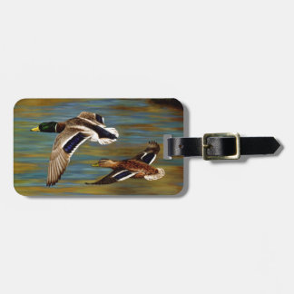 Mallard Ducks Flying Over Pond Tag For Luggage