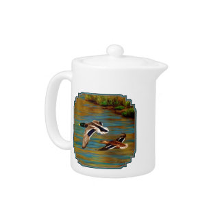 Mallard Ducks Flying Over Pond Teapot